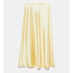 Zara Satin Midi Skirt